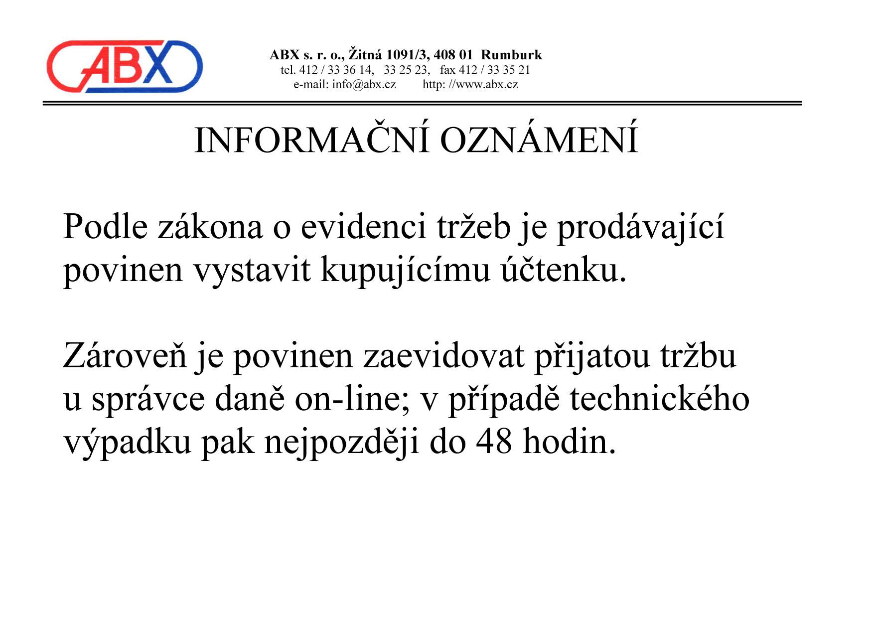 Informační oznámení EET